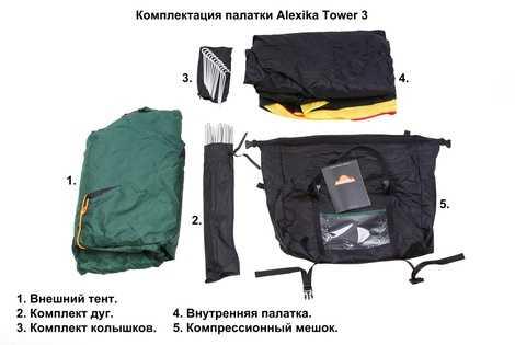 Трехместная туристическая палатка Alexika Tower 3 +ПОДАРОК